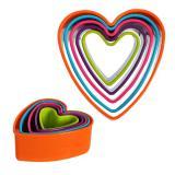 Plastová vykrajovátka na cukroví, 5 ks, srdce