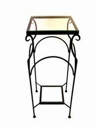Kvìtinový stolek kovový se sklenìnou deskou