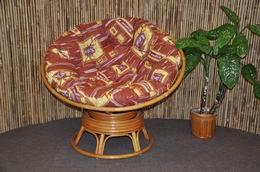 Ratanový papasan houpací medový polstr hnìdý list