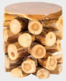 Teakový taburet dvanáctiválec HTP, prùmìr 36 cm