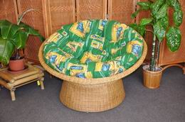 Ratanový papasan wicker polstr zelený