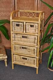 Ratanová komoda 3+2 zásuvky medová