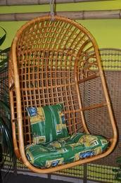 Houpaèka ratanová závìsná medová XL polstr zelený