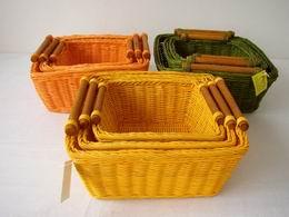 Ratanový košík set 3 varianta žlutá