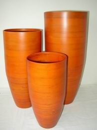 Bambusová váza klasik oranžová XL