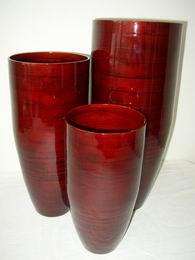 Bambusová váza klasik èervená L