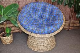 Ratanový papasan wicker mix polstr modrý