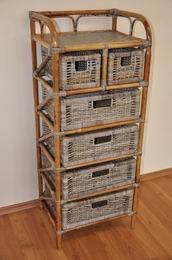 Ratanová komoda 4+2 zásuvky ratan kubu
