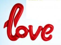BALÓNEK LOVE 68X46CM FÓLIE 3 ZÁVÌSNÉ OTVORYÈERVENÁ