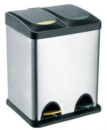 Odpadkový koš nerezový na tøídìný odpad 2x8L