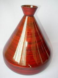 Bambusová váza široká èervená