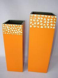 Bambusová váza oranž mozaika