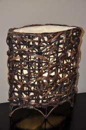 Lampa bambusová malá oválná vèetnì LED žárovky