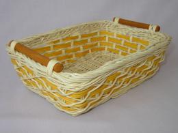 Ratanový košík se žlutým prùpletem