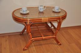 Ratanový stolek Kina oválný koòak
