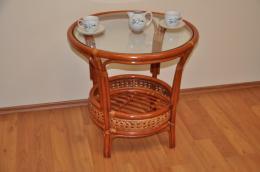 Ratanový stolek Kina kulatý koòak