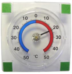 Venkovní teplomìr samolepící, od - 50°C do + 50°C, 7,6 x 7,6 x 1,4 cm