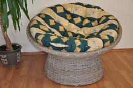 Ratanový papasan Kubu split polstr zelený motiv