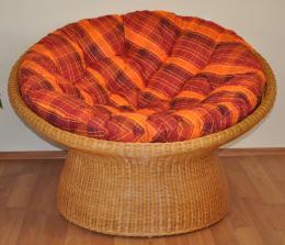 Ratanový papasan wicker polstr oranžová kostka