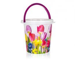 BRILANZ Kbelík plastový 10 L, tulipány, , 29x27,5 cm