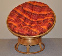 Ratanový papasan houpací medový polstr oranžová kostka