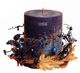 Svíèka dárková s dekorací a vùní borùvky,  6, 9 x 9 cm