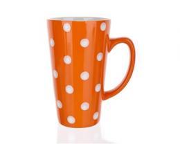 Hrnek vysoký oranžový s puntíky