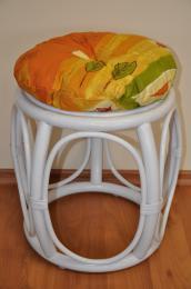 Polstr na ratanovou taburetku žlutý motiv - prùmìr 35 cm