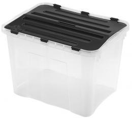 BOX ÚLOŽNÝ S VÍKEM, 42L, PLAST, 49X36X34 CM