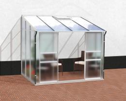 skleník VITAVIA IDA 5200 matné sklo 4 mm + PC 6 mm støíbrný