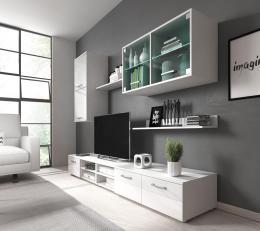 Obývací stìna Margarita bílý lesk/LED